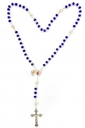 Rosario de San Antonio de Padua de cristal azul
