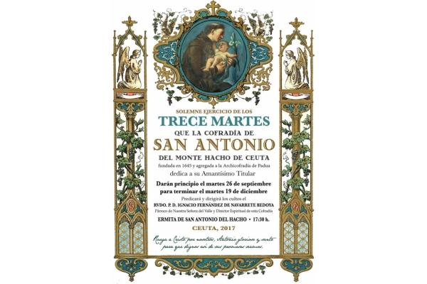 Cofradía del Monte Hacho de Ceuta. Comienza el solemne ejercício de los 13 Martes a San Antonio de Padua