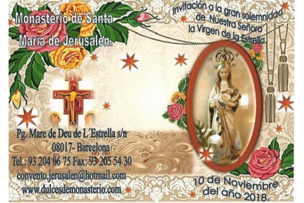 Invitación a la gran solemnidad de Nuestra Señora de la Virgen de la Estrella. Barcelona, 10 de Noviembre