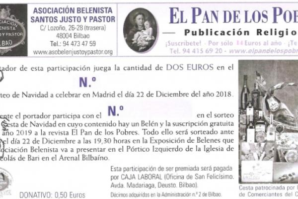 Lotería Navidad Asociación Belenista Santos justo, Pastor y El Pan de los Pobres 2018
