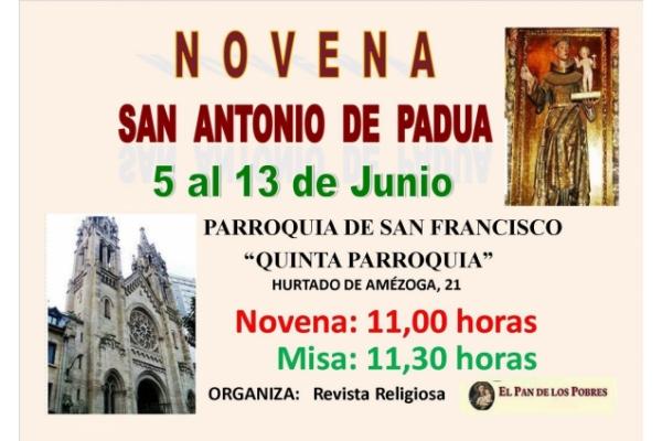 Novena a San Antonio de Padua. Del 5 al 13 de Junio. Parroquia de San Francisco. Quinta Parroquia, Bilbao