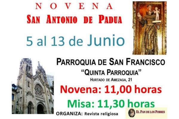 Novena a San Antonio de Padua. Del 5 al 13 de Junio