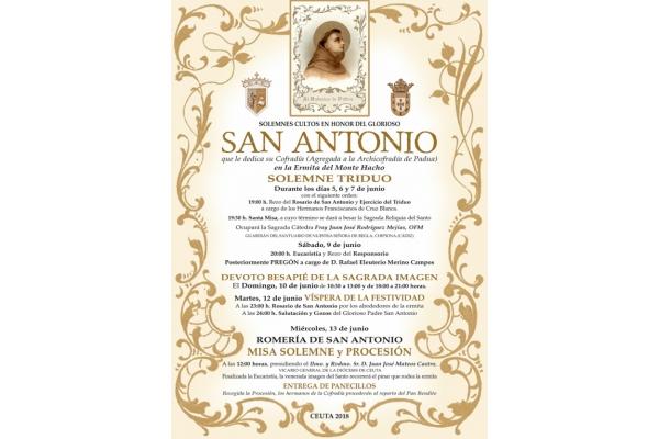Novena y Culto en honor a San Antonio de Padua en Ceuta. Del 5 al 13 de Junio 2018