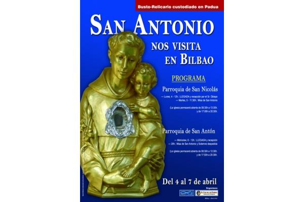San Antonio de Padua peregrina a Bilbao y Madrid