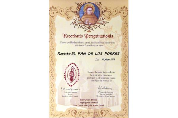 Recordatorio. Pergrinación a Padua. El Pan de los Pobres