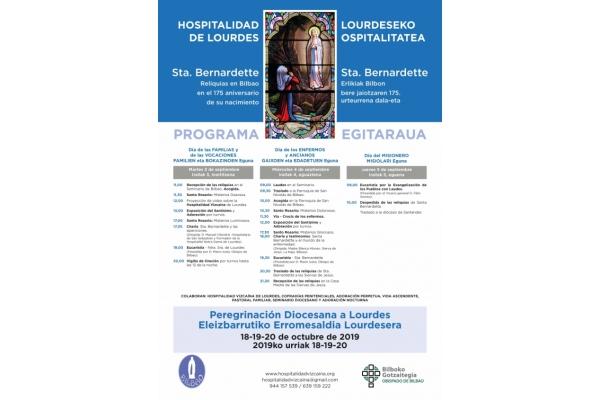Reliquias de la vidente de Lourdes, Santa Bernardette en Bilbao. Días 3, 4 y 5 de Septiembre