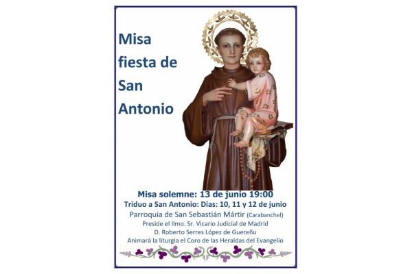 Triduo a San Antonio. Parroquia de San Sebastián Mártir. Carabanchel, Madrid. Misa Fiesta a San Antonio de Padua el 13 de Junio 2019