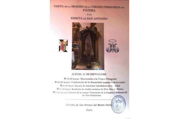 Visita de la imagen peregrina de la Virgen de Fátima a la Ermita de San Antonio de Ceuta. Jueves, 21 de Septiembre 2017