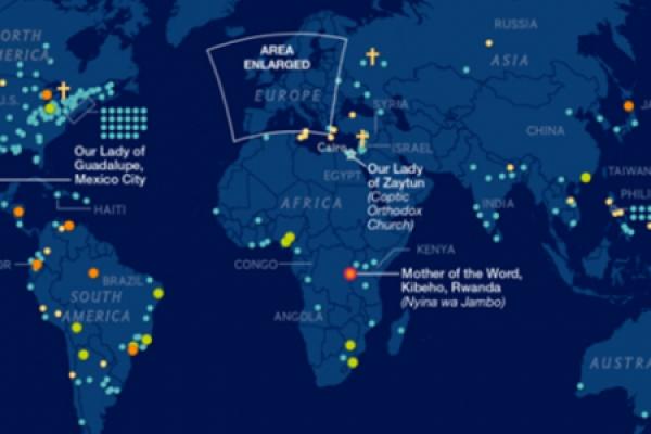 El mapa que ilustra 500 años de apariciones de María