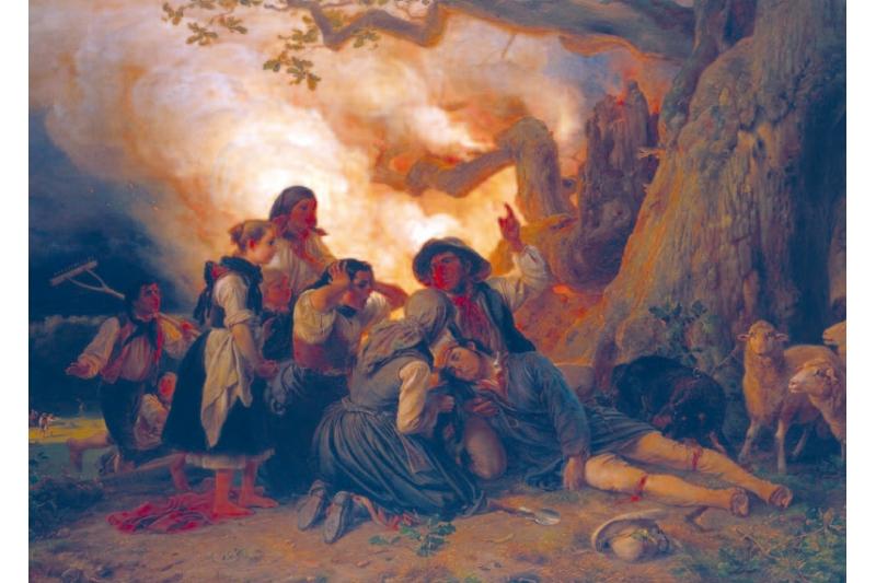 Pastor alcanzado por un rayo