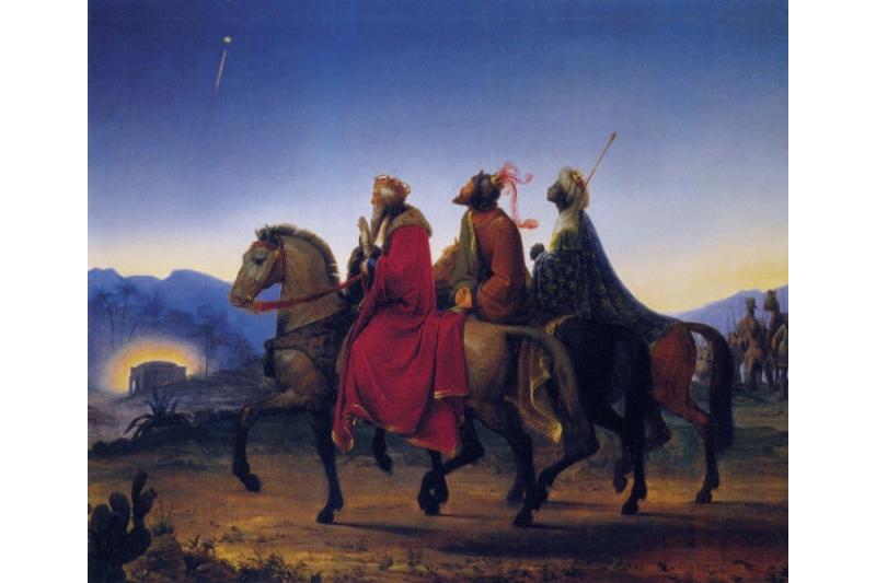 Los tres Reyes Magos camino de Belén