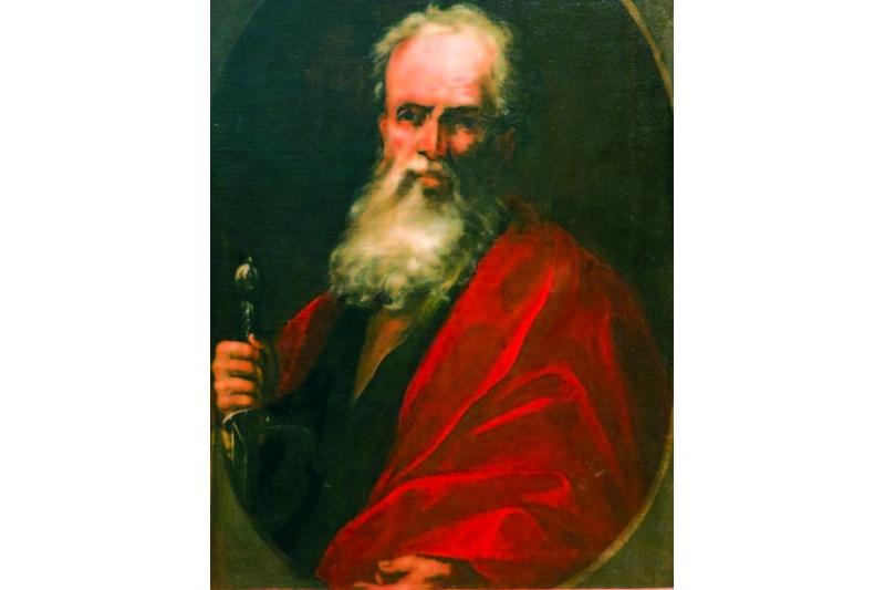 "Detalle de la obra ""San Pedro y San Pablo"" de Pablo Rabiella (siglo XVI). Museo de Zaragoza"
