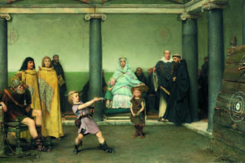 Educación del hijo de Clotilde y Clodoveo por Alma Tadema, 1868. Colección privada.
