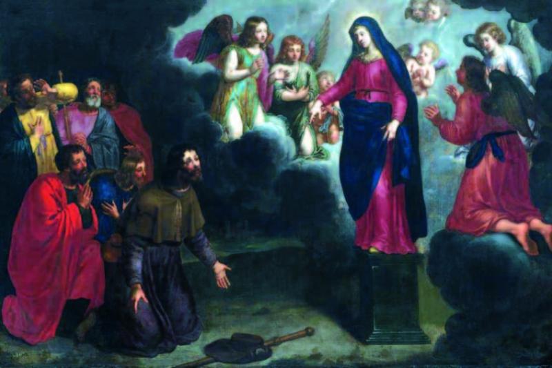 """El Apóstol Santiago en España. """"Aparición de la Virgen del Pilar a Santiago y los siete varones Apostólicos"""". Pieter van Lint, 1645. Museo de Bellas Artes de Bilbao."""