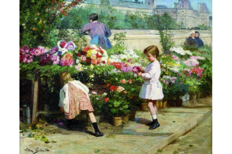 El mercado de las flores. Víictor Gabriel Gilbert (1847-1933)