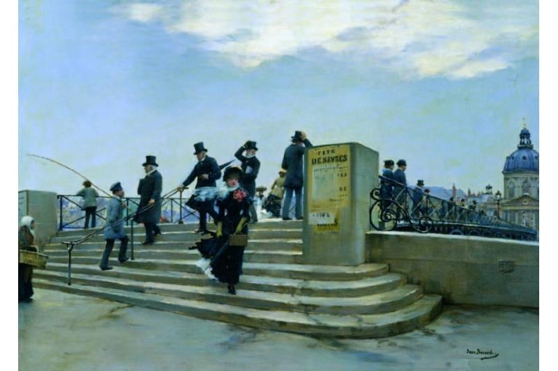 El Puente de las Artes con viento. Jean Béraud (1880)