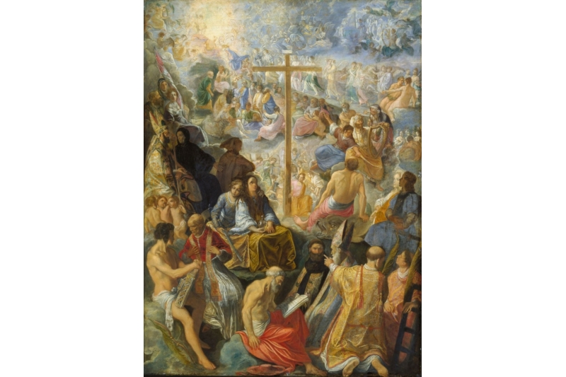 Exaltación de la Cruz, 1605. Adam Elsheimer. Tabernáculo de Francfort, Alemania