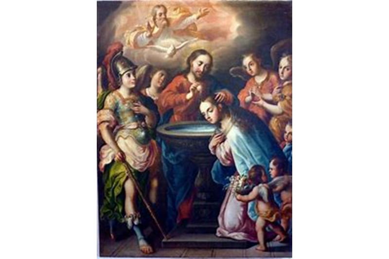 Jesucristo bautizando a su Madre la Virgen María por Antonio de torres. Siglo XVIII. Museo de Guadalupe, Zacatecas, México