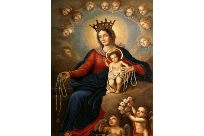 La Vírgen del Rosario. Rezo del Rosario en familia