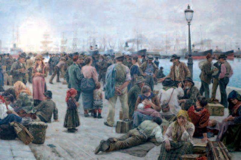Los emigrantes. Angiolo Tommasi, 1896, galería nacional de arte moderno y contemporáneo, Roma
