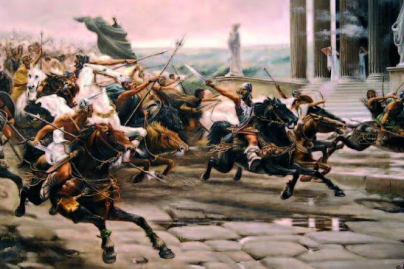 Los pueblos invasores La invasión de los bárbaros, 1847. Ulpiano Checa. (Copia de Gregorio Peña)