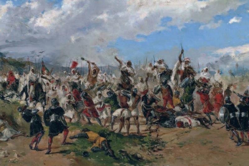 """Nuevo enemigo: el Islam. """"Batalla de Guadalete"""" Mariano Barbasán, 1882. Coleción particular"""