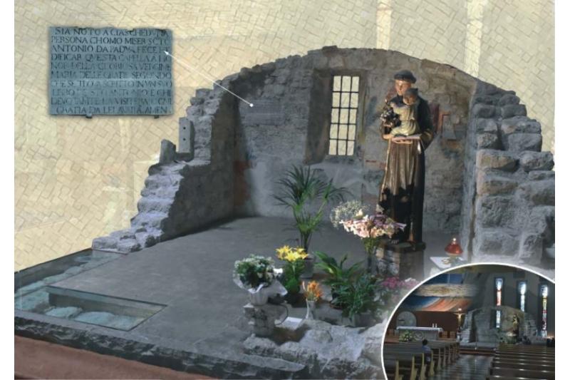 San Antonio de Padua. Paredes semidestruidas. Capilla Virgen de la Gracia tras terremoto 1976. Santuario antoniano, Germona del Fruli, Italia