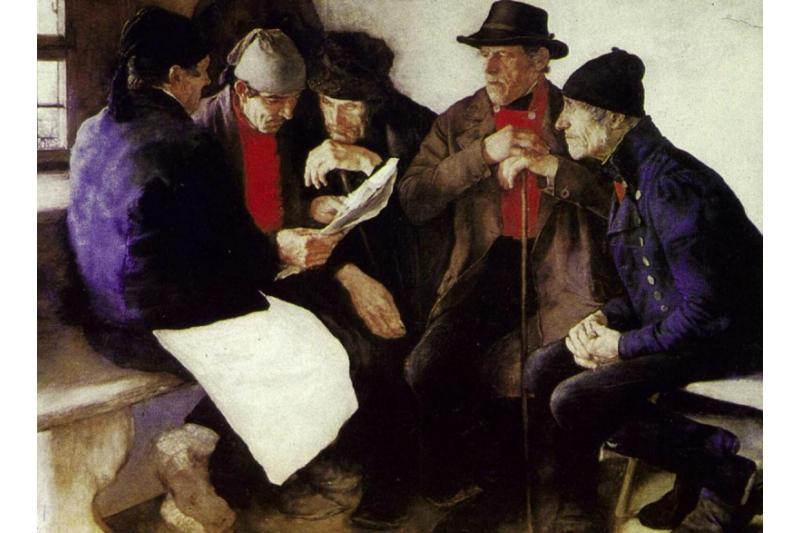Políticos de aldea. Joseph Euzenberger, 1921. Pinacoteca de Munich