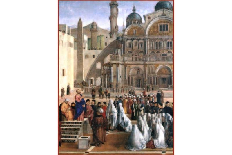 Predicación de San Marcos en Alejandría, 1504-1507. Gentile Bellini y Giovanni Bellini. Pinacoteca de Brera, Italia