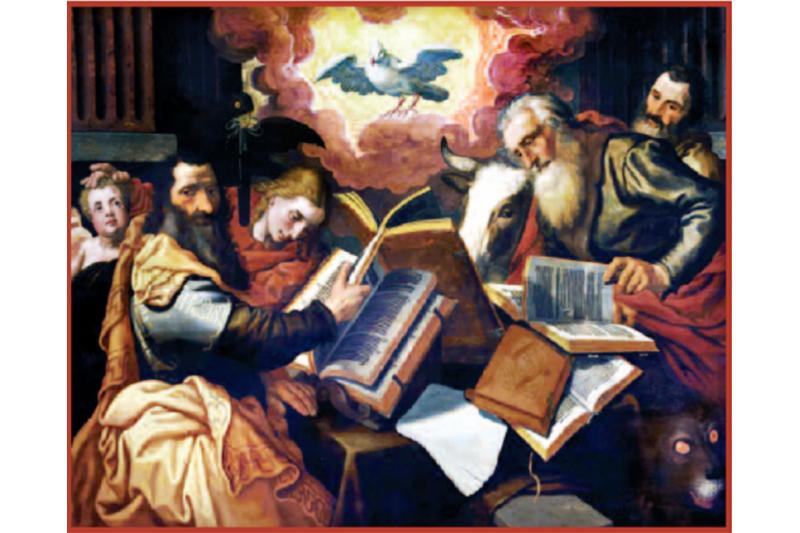 Primeros escritores cristianos. Los cuatro Evangelios. (1560-1565). Pieter Aertsen.. Colección particular