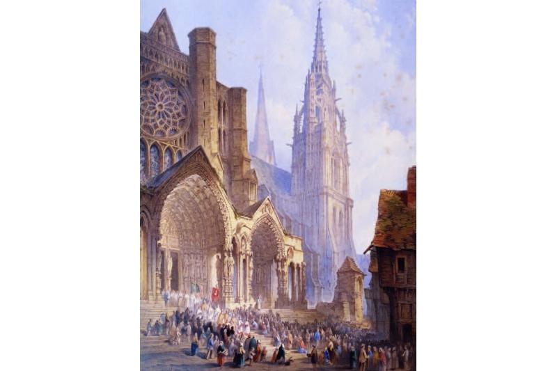 Procesión en Chartres. Acuarela de Edwin Thomas Dolby, 1824-1902. Museo de Bellas Artes de Chartres, Francia
