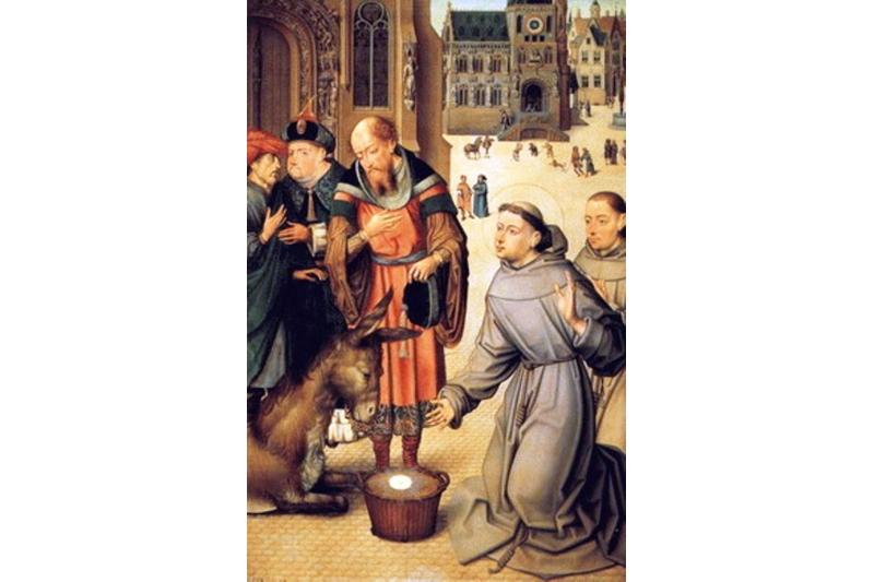 San Antonio de Padua defendiendo la presencia de Jesús sacramentado maestro de la pasión de brujas