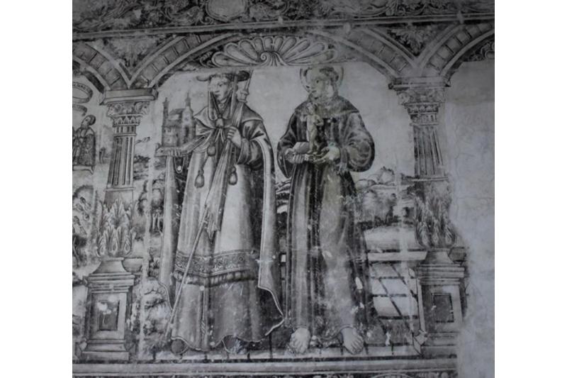 San Buenaventura y San Antonio de Padua. Museo San Miguel Arcangel. Pintura al fresco. Huejotzingo, México