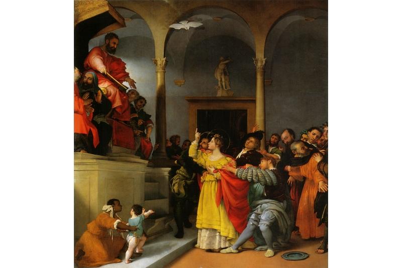 Santa Lucía ante Pascasio. Arratrada a un burdel-Lorenzo Lotto 1532-Pinateca civica di Jesi Italia - 13 - de Diciembre