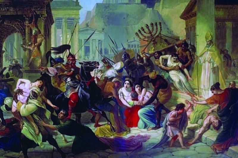 Saqueo de Roma por los bárbaros en 455 dc. Oleo por kari Bruillov siglo XIX