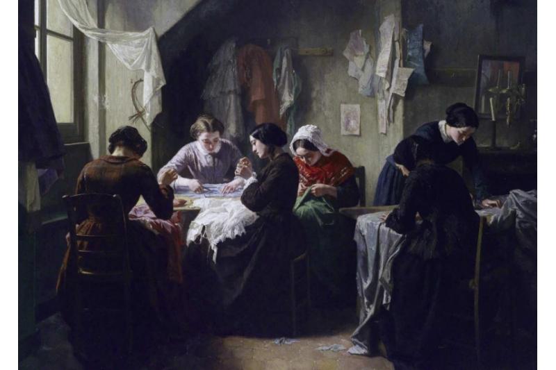 Taller de costura en Bretaña. Jean-Baptiste Jules Trayer (1854)