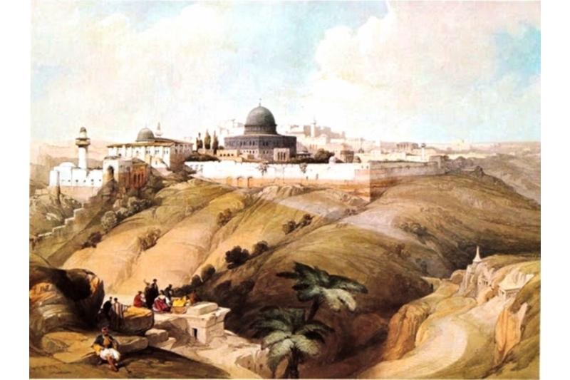 Litografía de Jerusalén por David Roberts 1838