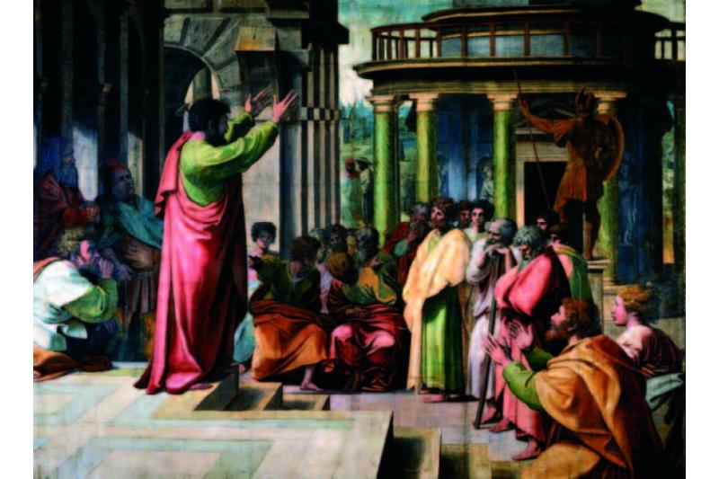 Viajes Apostólicos de San Pablo. Predicación de San Pablo en Atenas (1515-1516). Cartón para tapiz de Rafael Sanzio