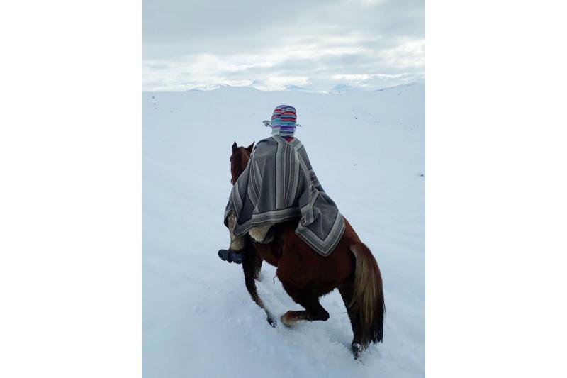 Cruzan la nieve para visitar pacientes durante la pandemia