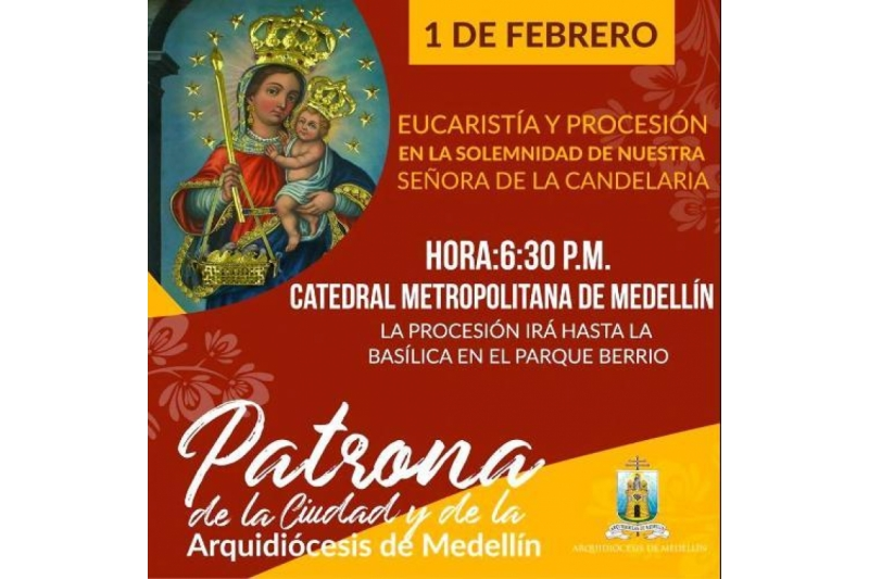 Medellín prepara gran celebración a su patrona, la Virgen de la Candelaria el 1 de Febrero
