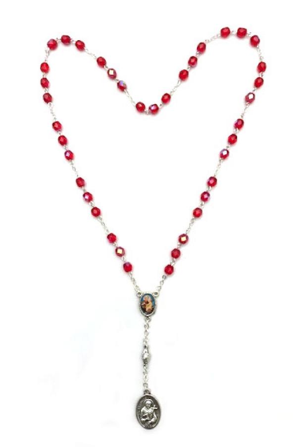 Rosario de San Antonio de Padua con cuentas de cristal rojo